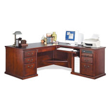 kathy ireland Home™ Huntington Collection L Shaped Workstation with Right Return -Vibrant Cherry