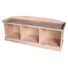 Solid Parawood Backless Bench with Three Storage Cubbies - Unfinished