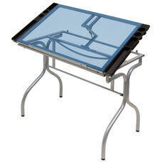 Blue Tempered Glass and Steel Folding Craft Station with Storage Trays - Silver