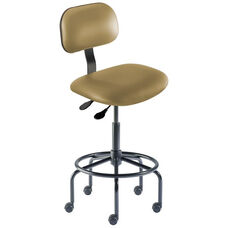 Quick Ship Bridgeport Series Chair with Adjustable Task Controls and Tubular Steel Base - High Seat Height