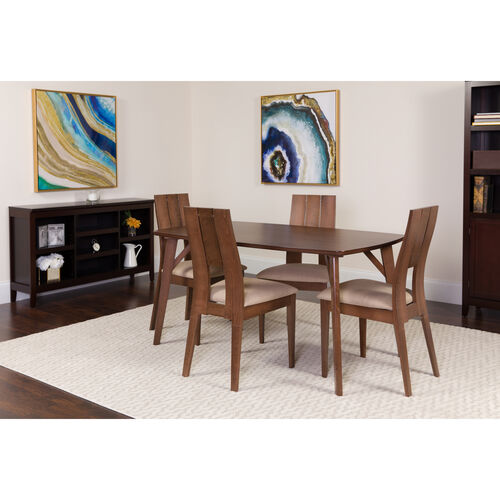 Our anderson 5 Piece Walnut Wood Dining Table Set with Curved Slat Keyhole Back Wood Dining Chairs - Padded Seats is on sale now.