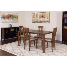 Clinton 5 Piece Walnut Wood Dining Table Set with Vertical Slat Back Wood Dining Chairs - Padded Seats
