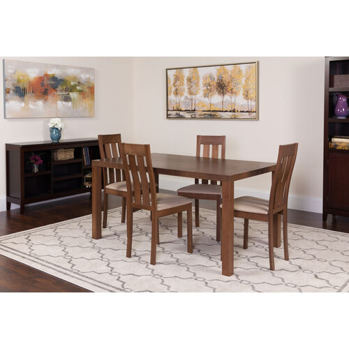Our Clinton 5 Piece Walnut Wood Dining Table Set with Vertical Slat Back Wood Dining Chairs - Padded Seats is on sale now.
