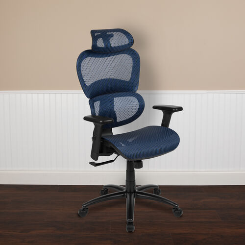 Ergonomic Mesh Office Chair with 2-to-1 Synchro-Tilt, Adjustable Headrest, Lumbar Support, and Adjustable Pivot Arms in Blue