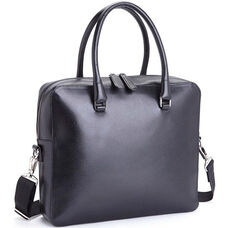 RFID Blocking Travel Briefcase - Saffiano Genuine Leather - Black
