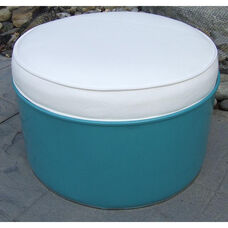 Del Ray Steel Drum Ottoman with White Accents