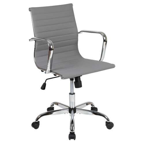 Our Mid-Back Light Gray LeatherSoft Mid-Century Modern Ribbed Swivel Office Chair with Spring-Tilt Control and Arms is on sale now.