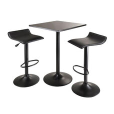 Obsidian 3-Pc Square Counter Height Dining Set with 2 Airlift Stools in Black