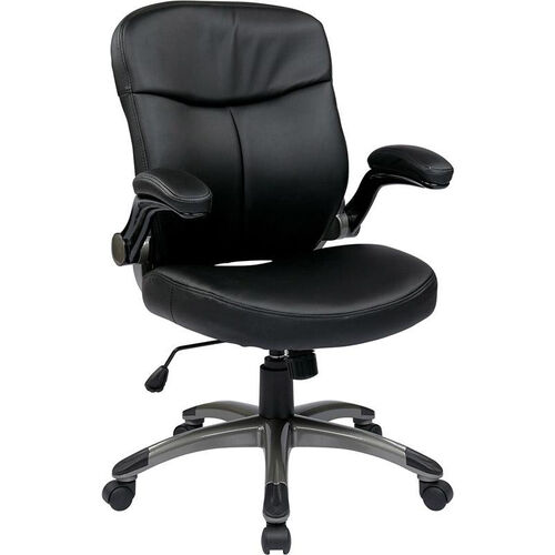Our Work Smart Executive Mid Back Eco Leather Chair with Adjustable Padded Flip Arms and Titanium Finish Base - Black is on sale now.