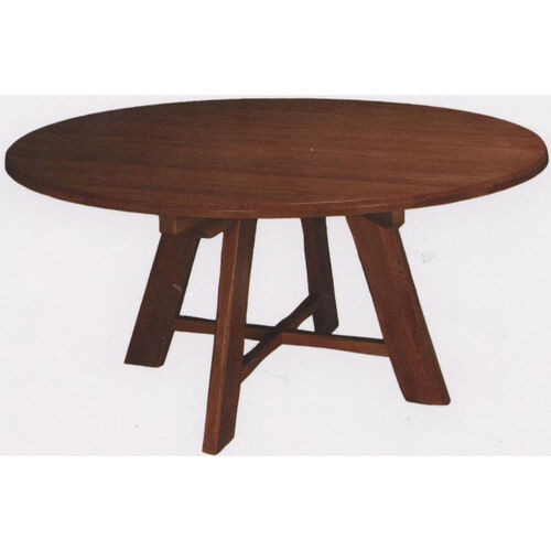 1776 Round Wood Trestle Table with Rustic Styling and Self-Leveling Glides
