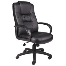 High Back Executive Leather Chair with Padded Armrests - Black