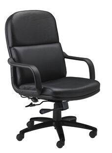 Comfort Big and Tall Executive Arm Chair - Black Leather
