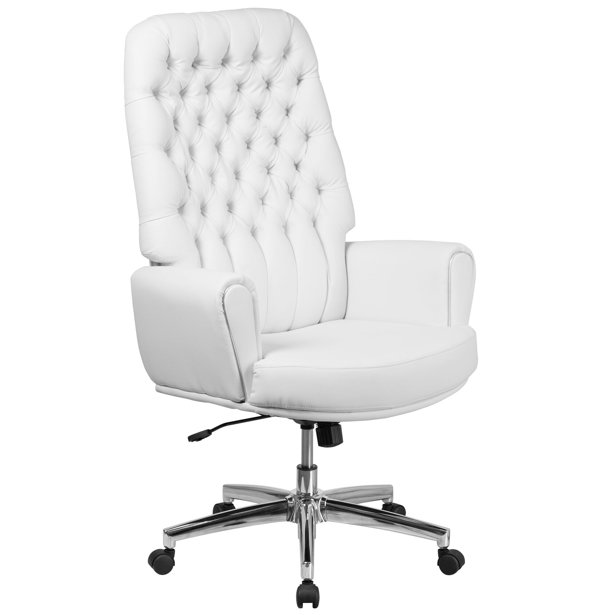 Terrific High Back Traditional Tufted White Leather Executive Swivel Office Chair With Arms Download Free Architecture Designs Osuribritishbridgeorg