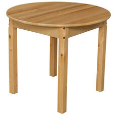 Solid Hardwood Table with Rounded Child Safe Corners and Non-Toxic Natural Finish-Round - 30