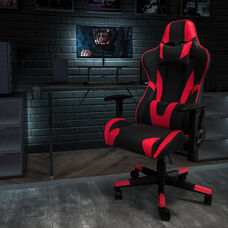 BlackArc Black Gaming Desk and Red/Black Reclining Gaming Chair Set with Cup Holder, Headphone Hook, and Monitor/Smartphone Stand