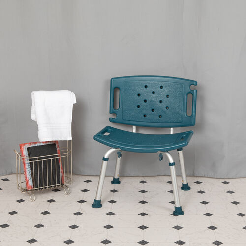 HERCULES Series Tool-Free and Quick Assembly, 300 Lb. Capacity, Adjustable Navy Bath & Shower Chair with Extra Large Back