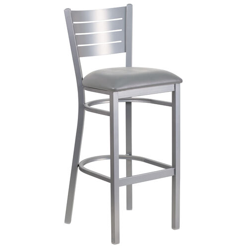 Our Silver Slat Back Metal Restaurant Barstool with Custom Upholstered Seat is on sale now.