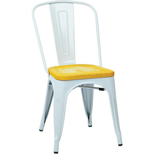 Our OSP Designs Bristow Metal Chair with Wood Seat - 4-Pack - White and Vintage Ash Yellowstone is on sale now.