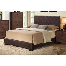 Ireland III Faux Leather Panel Bed - Full - Brown