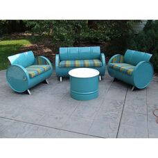 Laguna Steel Drum 4 Piece Conversation Set with Multicolor Accents