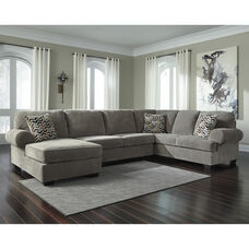 Signature Design by Ashley Jinllingsly 3-Piece RAF Sofa Sectional in Gray Corduroy