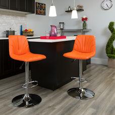 Contemporary Orange Vinyl Adjustable Height Barstool with Embellished Stitch Design and Chrome Base