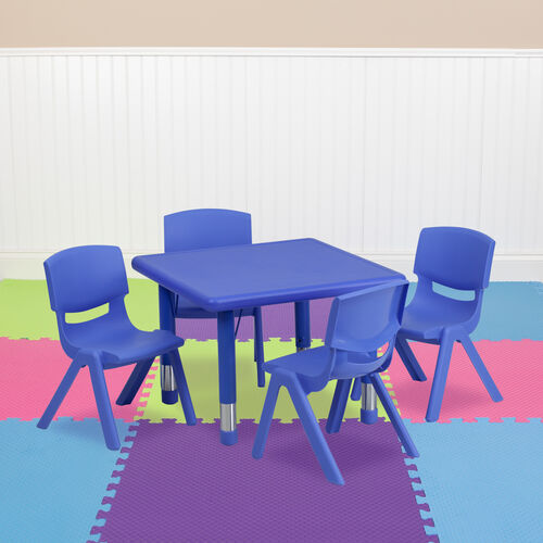 """24"""" Square Plastic Height Adjustable Activity Table Set with 4 Chairs"""
