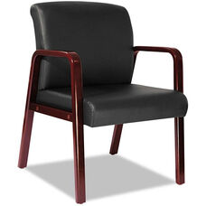 Alera® Reception Lounge Series Soft Leather Guest Chair with Cherry Wood Frame and Arms - Black