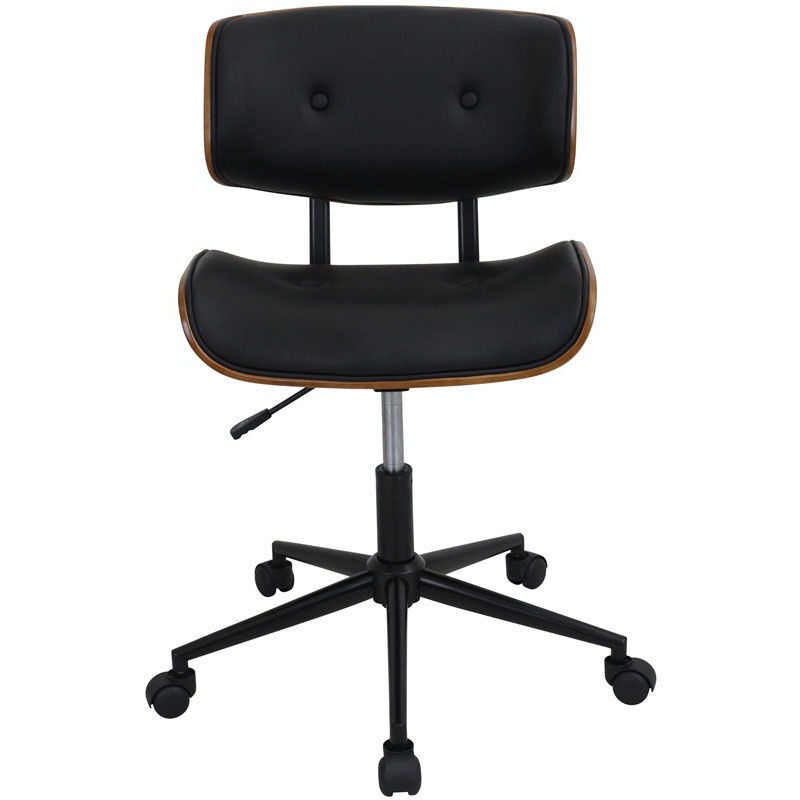 ... Our Lombardi Mid Century Modern Faux Leather Office Chair With Walnut  Accents   Black Is
