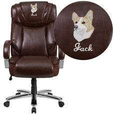 Embroidered HERCULES Series Big & Tall 500 lb. Rated Brown Leather Executive Extra Wide Ergonomic Office Chair