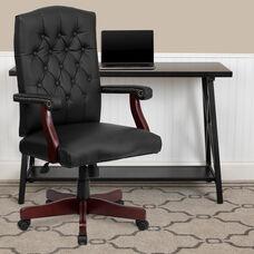 Martha Washington Black LeatherSoft Executive Swivel Office Chair with Arms