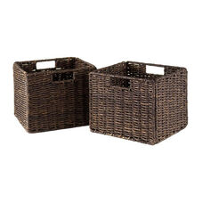 Granville 2-Pc Small Foldable Corn Husk Baskets in Chocolate