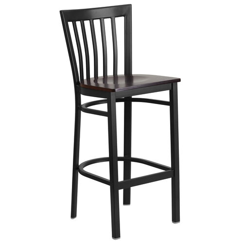 Our Black School House Back Metal Restaurant Barstool with Walnut Wood Seat is on sale now.