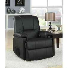 Reseda Transitional Style Faux Leather Power Lift Recliner with Wired Control - Black