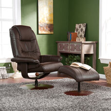 Bonded Leather Recliner and Ottoman - Brown