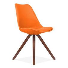 Viborg Mid Century Orange Side Chair with Walnut Wood Base - Set of 2