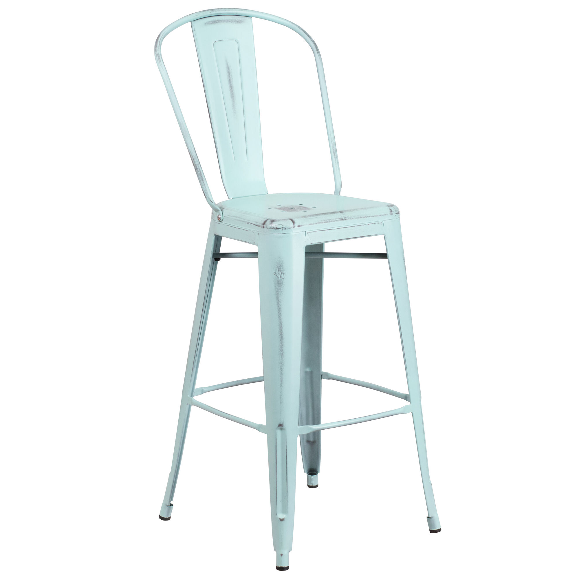 Awesome Commercial Grade 30 High Distressed Green Blue Metal Indoor Outdoor Barstool With Back Pabps2019 Chair Design Images Pabps2019Com