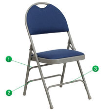 HERCULES Series Ultra-Premium Triple Braced Navy Fabric Metal Folding Chair with Easy-Carry Handle