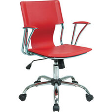 Ave Six Dorado Contour Seat and Back Vinyl Office Chair with Heavy Duty Chrome Base - Red