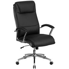 High Back Designer Black Leather Smooth Upholstered Executive Swivel Chair with Chrome Base and Arms