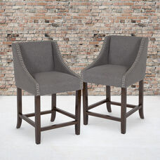 """Carmel Series 24"""" High Transitional Walnut Counter Height Stool with Nail Trim in Dark Gray Fabric, Set of 2"""