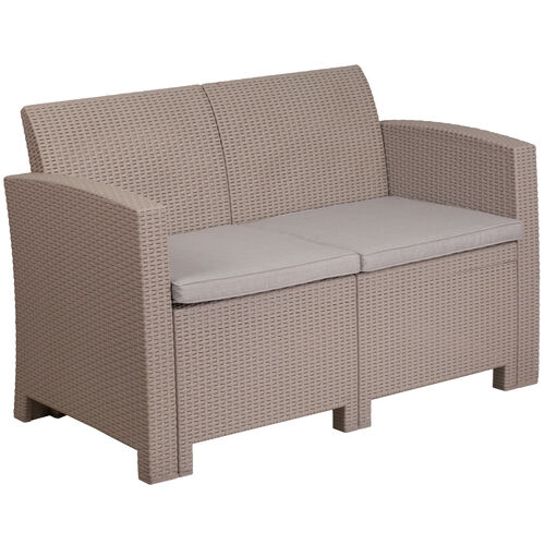 Our Faux Rattan Loveseat with All-Weather Cushions is on sale now.