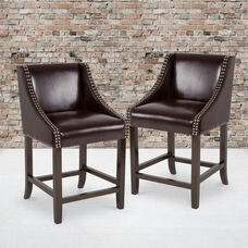 """Carmel Series 24"""" High Transitional Walnut Counter Height Stool with Nail Trim in Brown LeatherSoft, Set of 2"""