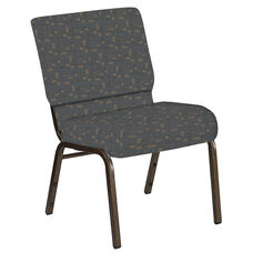 Embroidered 21''W Church Chair in Circuit Teal Fabric - Gold Vein Frame