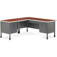 Mesa L-Shaped Desk with Left Pedestal Return - Cherry