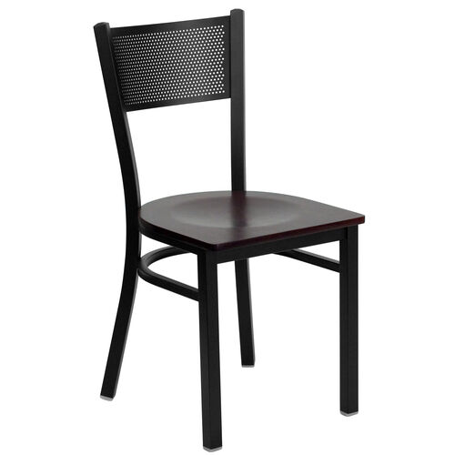 Our Black Grid Back Metal Restaurant Chair with Mahogany Wood Seat is on sale now.