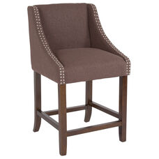 "Carmel Series 24"" High Transitional Walnut Counter Height Stool with Accent Nail Trim in Brown Fabric"