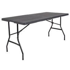 4.91-Foot Bi-Fold Wood Grain Plastic Folding Table
