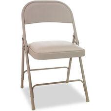 Alera® Steel Folding Chair with Padded Seat - Tan - 4/Carton
