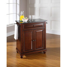 Solid Black Granite Top Portable Kitchen Island with Cambridge Feet - Vintage Mahogany Finish